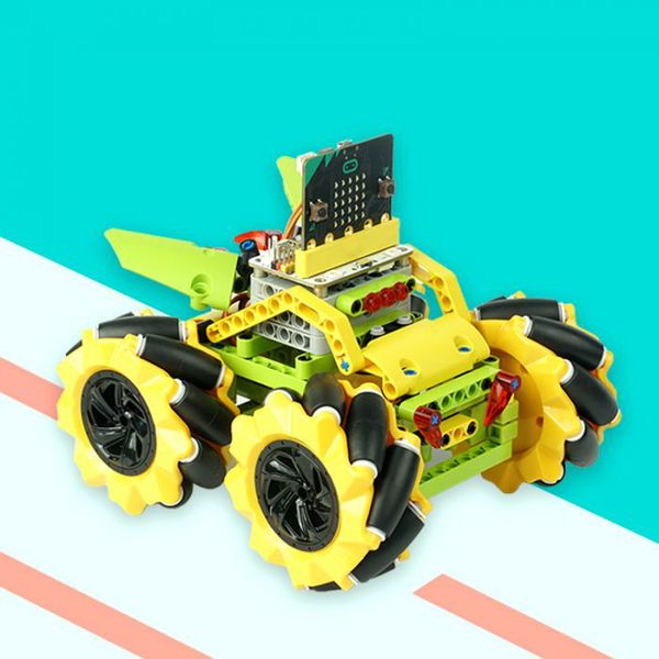 Wonder Rugged Car Kit : Lego compatible Mclam wheel DIY car kit for micro:bit (without micro:bit board)